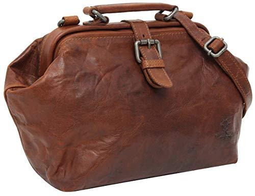 Gusti Umhängetasche Leder - Lillith Vintage Ledertasche Handtasche Arzttasche Braun Leder