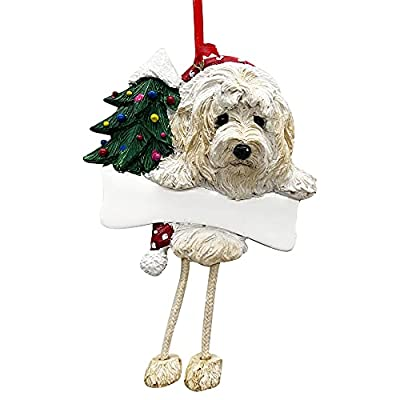 """Goldendoodle Ornament with Unique """"Dangling Legs"""" Hand Painted and Easily Personalized Christmas Ornament from E&S Imports, Inc"""