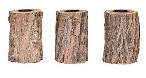 levandeo 3er Set Teelichthalter Holz H15cm Kerzenhalter Kerzenständer Baum Natur Baumstamm Unikat Deko Wohnidee