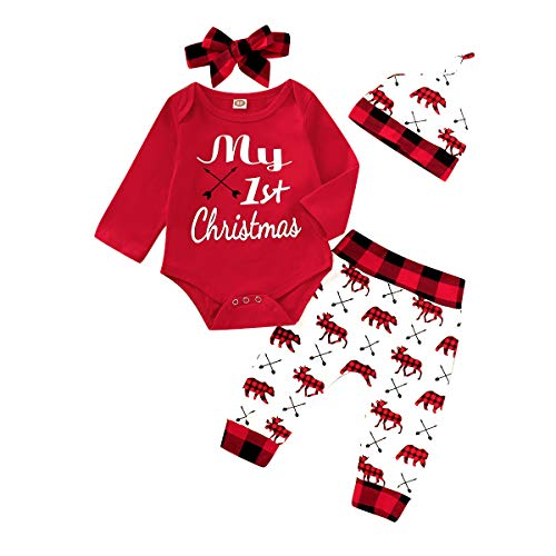Newbron Baby Girl Clothes My 1St Christmas Outfits Long Sleeve Infant Romper Bear Pants Set 0-3 Months