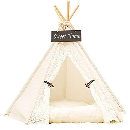 DEWEL Hause und Zelt für Hund und Katzen Haustier, abnehmbar und waschbar,Spitze,L(7-15KG)
