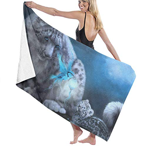 FETEAM Toallas de baño con Estampado de Leopardo de Nieve Azul, la Mejor Toalla de baño, Toallas de Playa para Mujeres, Juego de baño, Accesorios de baño