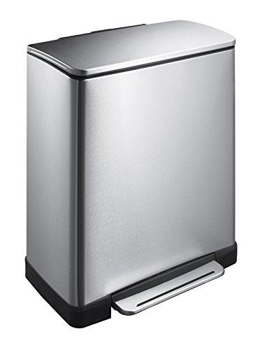 EKO E-Cube Tretmülleimer 28+18L Mülltrenner (34.5 x 50 x 65 cm, Dämpfer-System, Fingerabdruck frei, Stay-Open, Abfallbeutelfixierung), matt silber