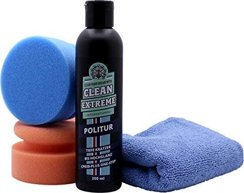 CLEANEXTREME Autopolitur Set CP030-PLUS für die Handpolitur - Kratzer, Gebrauchsspuren, Vermattungen, Schleifriefen entfernen, auf Hochglanz polieren