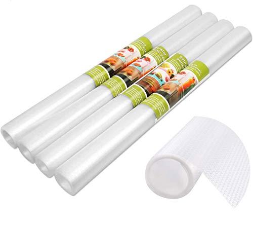 Preisvergleich Produktbild 4 Pcs Antibakterielle Kühlschrank Matten DIY Waschbare Wasserdichte Antirutschmatte Schubladenmatte Antimehltau Antibakterielle Schubladeneinlage für Kühlschrank und Schublade-40x150cm (Transparent)