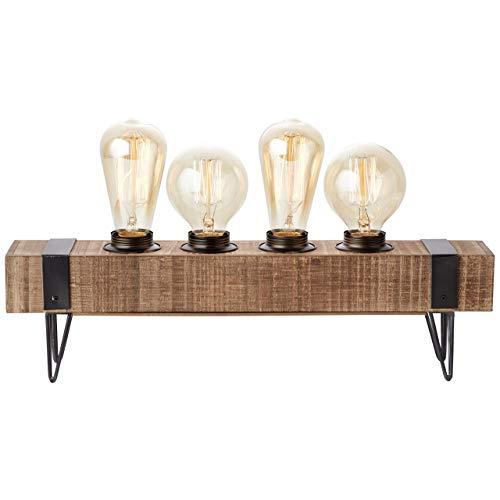 WOODHILL-Lampe à poser 4 Lumières Métal et bois L46cm Bois Brilliant