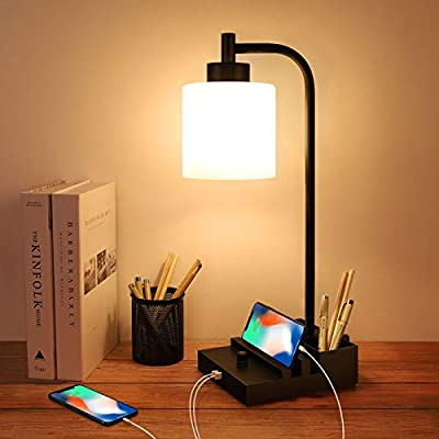 Industrial Table Lamp, Fully Stepless Dimmable Nightstand Lamp with Dual USB Port, Glass LampShade, Bedside Desk Lamp, Modern Desk Lamp for Bedroom, Living Room, Office, 2700K 6W LED Bulb Included