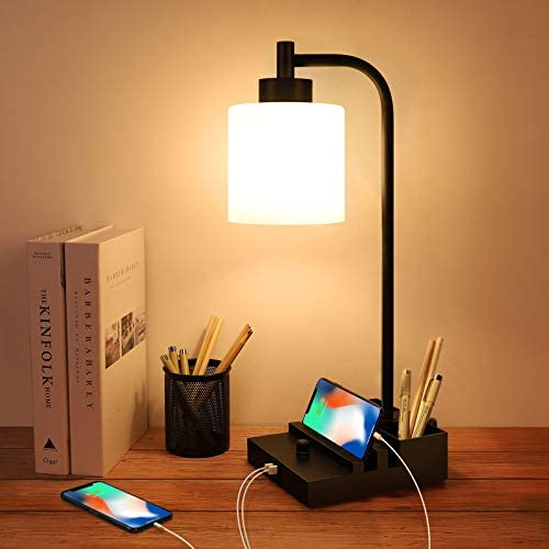 Industrial Table Lamp Fully Stepless Dimmable Nightstand Lamp with Dual USB Port Glass LampShade product image