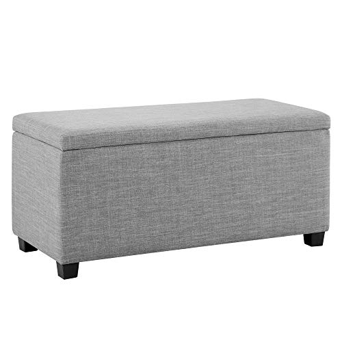 """Amazon Basics Upholstered Storage Ottoman and Entryway Bench, 35.5""""L, Light Gray"""
