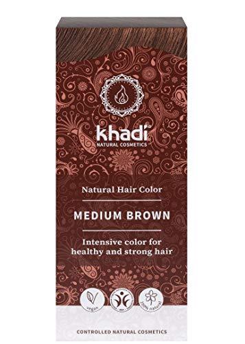 Khadi Coloration de cheveux pour cheveux naturels, coloration naturelle, brun moyen 100 g