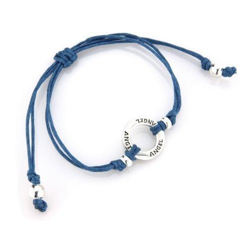 Joolz Friendship Bracelet 925 Silver with 'Angel' inscribed Navy Blue Cotton Bracelet