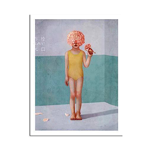Estilo nórdico Flor Niños Familia Mujer Decoración Resumen Chica Pintura al óleo Lienzo Carteles Imagen de la Pared Sala de Estar Moderna 60 * 80 cm