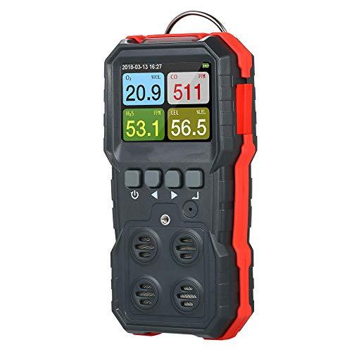 4 en 1 detector de gas, recargable portátil multi-monitor de gas, Digital monóxido de carbono Sulfuro de Hidrógeno Gas probador con 3 modo de alarma for la detección de O2, CO, H2S, LEL yqaae