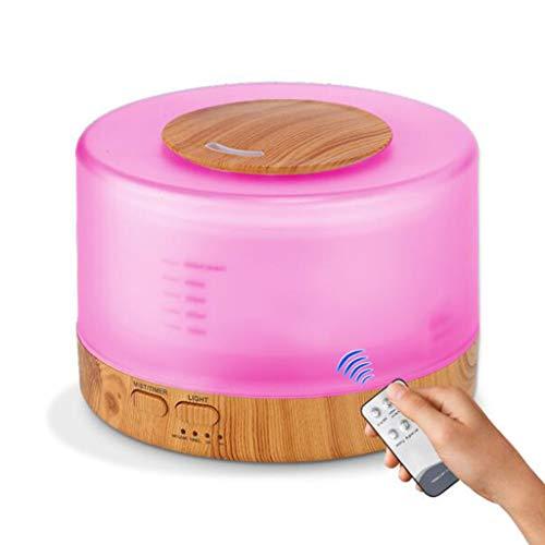 Hjgyugyutuy Difusor de Aroma de Grano de Madera teledirigido, Humidificador atomizador de Aire doméstico 500ML, Diseño de luz Nocturna de 7 Colores, Apagado automático sin Agua