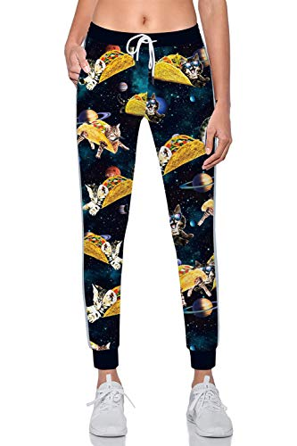 Rave on Friday Damen Jogginghose Lang Pizza Katze Druck Elegant Sport Hosen High Waist Sweathose Sportwear Trainingshose mit Taschen und Kordelzug M