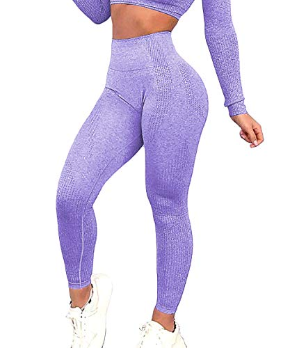 Yaavii Damen Sport Leggings Lange Blickdicht Sporthose Yogahose Fitnesshose mit Hohe Taille Bauchkontrolle Lila2 S