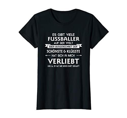 Damen Frauen Fußball Frauenfussball Spielerfrau Fußballer T-Shirt