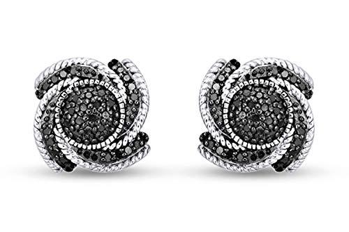 Pendientes de tuerca de oro de 18 quilates sobre plata de ley con diamantes negros redondos naturales de 1/4 quilates (0,25 quilates, claridad I2-I3),