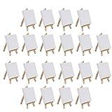 Lot de 20 mini Toiles sur Châssis et Chevalet - (10x10cm) Chevalet (14,5cm) Mini Chevalets en Bois avec Toiles à Peindre Vierges pour la Peinture, le Dessin, les Loisirs Artistiques et Créatifs
