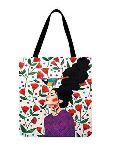 Damas Hombro Pintura Arte Impreso Gril Lino Reutilizable Bolsas de Asas para Las Mujeres 10 42x44cm