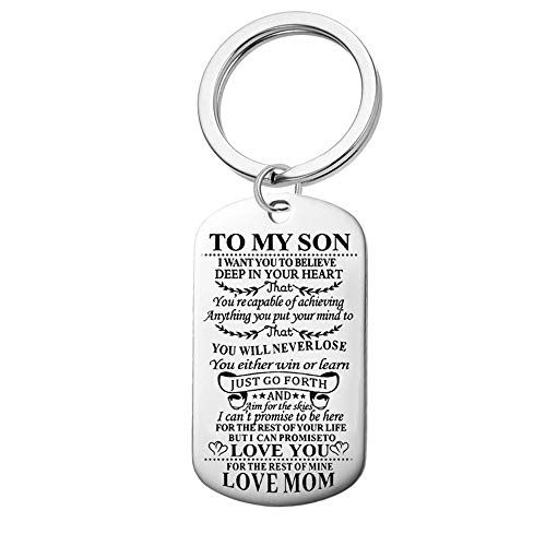 Jvvsci Dad Mom to Son Keychain I Want You to Believe Deep in Your Heart Inspirational Message Keychain Birthday Gift for Boys Teen (mom to Son Keychain)