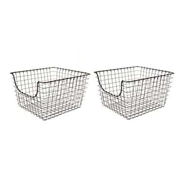 Spectrum Diversified Scoop Wire Storage Basket, Medium, Industrial Gray, 2-Pack