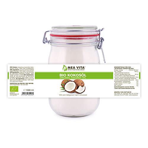 MeaVita Bio Kokosöl, nativ, DE-ÖKO-037, 1er Pack (1 x 1000 ml) im Drahtbügelglas - 5