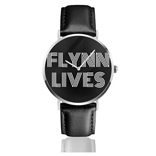 Relojes Unisex de Negocios Casuales Flynn Lives Tron Legacy, Camiones Cap Reloj de Cuarzo de Cuero con Banda de Cuero Negro para Hombres y Mujeres colección Joven Regalo