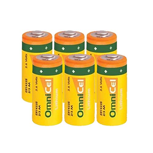 6x OmniCel ER14335 3.6V 1.65Ah 2/3AA Lithium Button Top Battery For Smoke Alarms, Carbon Monoxide Detectors, Intrusion Sensors, Invisible Fencing, Emergency Backup, Data Collection, AMR Add-ons