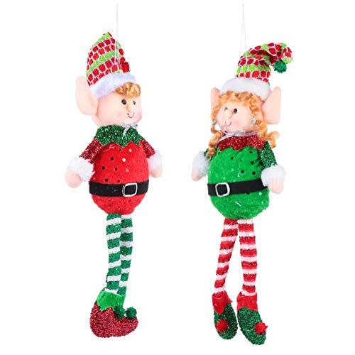 HEALLILY 2 Piezas Adornos de Elfo de Navidad Felpa Pierna Larga Sentado Decoraciones de Elfo Muñecos de Árbol de Navidad de Peluche Juguetes Estante Chimenea Centro de Mesa Decoración de