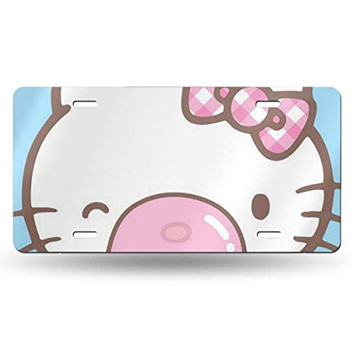 Suzanne Betty Aluminum License Plates - Blowing Bubbles Hello Kitty License Plate Tag Car Accessories 12 X 6 Inches
