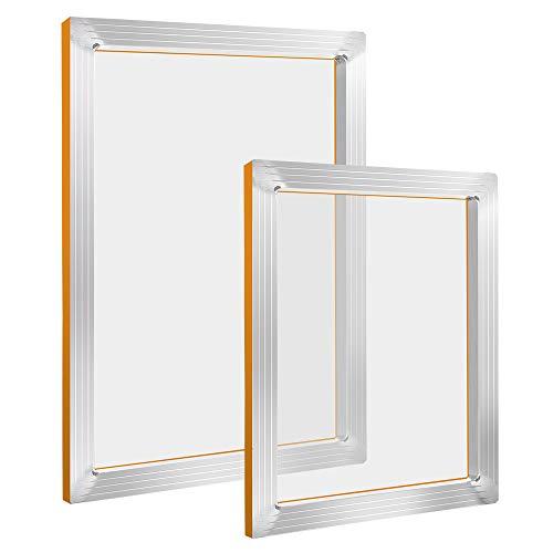 Pllieay 2 marcos de impresión de pantalla de seda de aluminio de 10 x 14 pulgadas, 8 x 10 pulgadas con malla blanca de 110 para serigrafía.