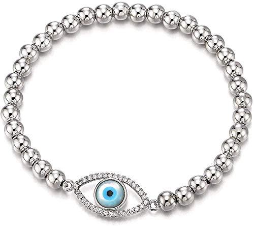 NONGYEYH co.,ltd Pulsera de Perlas para Mujeres, niñas y Hombres con protección de circonita