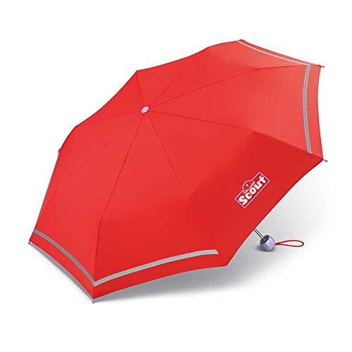 Scout Kinder Regenschirm Taschenschirm Schultaschenschirm mit Reflektorstreifen extra leicht rot