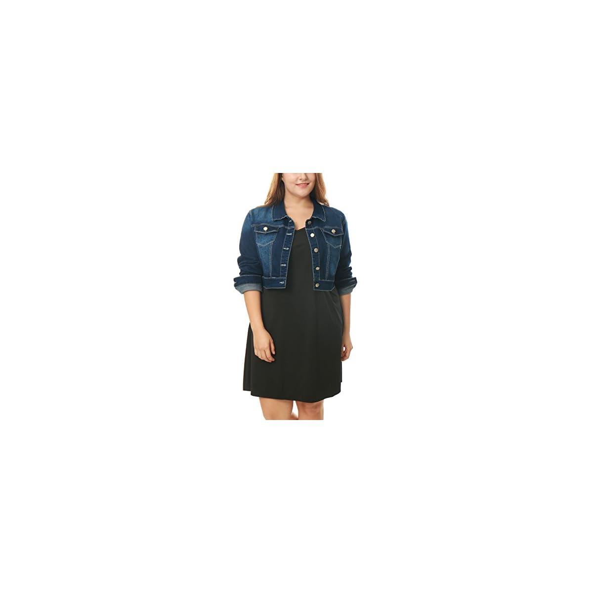 sourcingmap Damen Plus Size Langarm Button Crop Jeansjacke Jacke Dunkelblau
