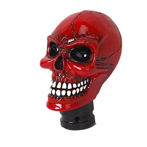 Perilla de cambio de marchas esqueleto cabeza de cráneo universal 5 6 velocidades palanca de cambios adaptador de ajuste interior del coche pieza modificada personalizada accesorio auto rojo