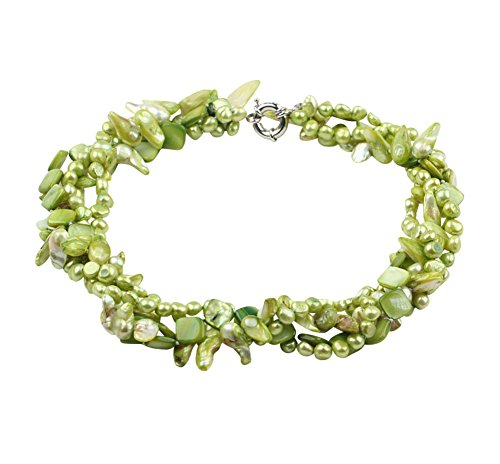 TreasureBay Multi-Strands Lime Green freshwater Pearl and Green Shell Twisted Necklace