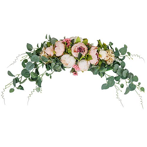 HiiARug Artificial Peony Flower Swag, 31 Inch Decorative Swag with Fake Peonies Hydrangeas Eucalyptus Leaves for Home Room Garden Lintel Wedding Arch Party Decor (Pink, 31')