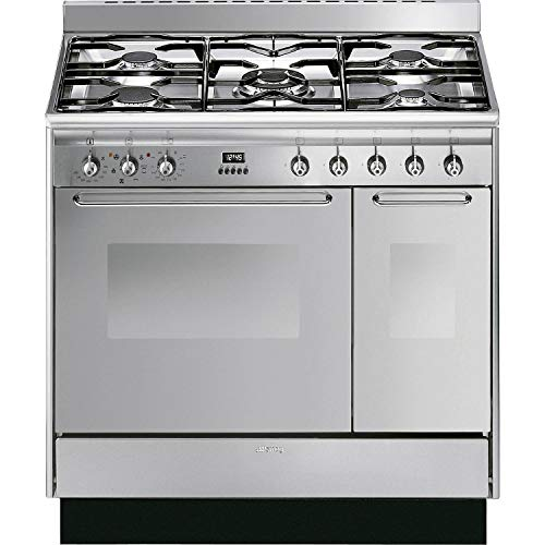 Smeg CC92MX9 Cucina Double Cavity 90cm Dual Fuel Range Cooker - Stainless Steel