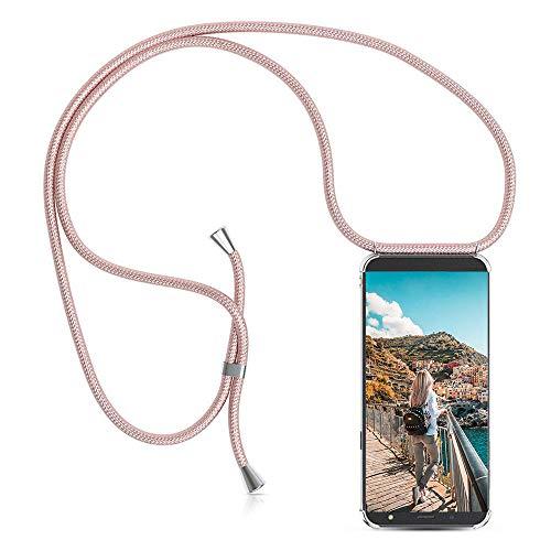 XCYYOO Handykette Hülle für Samsung Galaxy J5 2017 J530 Cover,Pouch Bag Mode-Accessoire Handytasche Smartphone Necklace HandyHülle mit Band - Schnur mit Case zum umhängen in Roségold