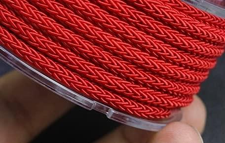 JIUFU Cordón Trenzado de Nailon Trenzado con Cuentas de Hilo de 4mm para fabricación de Tiras de Pulsera, Accesorios de joyería para Manualidades