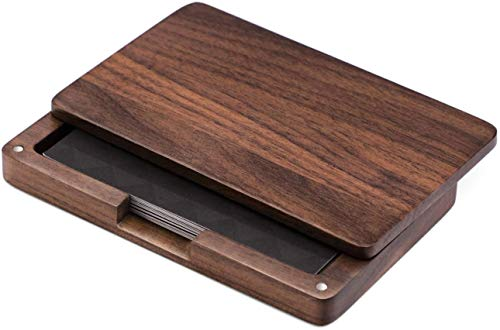 MaxGear Business Card Holder Wood Business Card Holders, Wooden Business Card Case Name Card Holder with Magnetic Closure for Men or Women Walnut