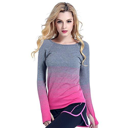 (Large, Rose) - Balai Women Gym Sports Shirt Yoga Top Fitness Running Long Sleeve T-Shirt Tops