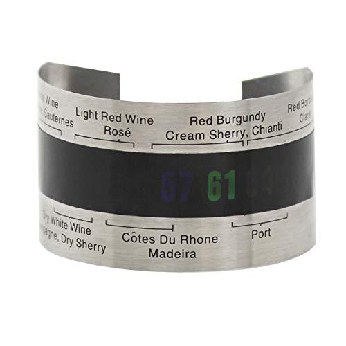 Vinturi V9075 - Termómetro flexible para botella de vino (acero inoxidable), color negro
