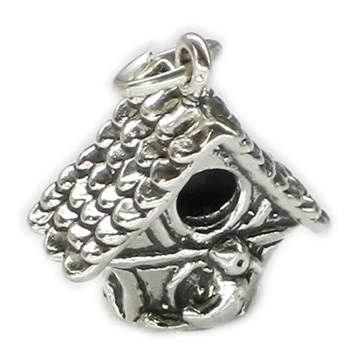 Casetta per uccelli in argento Sterling ciondolo .925x 1birdbox Uccelli Charms sslp2448