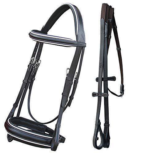 ExionPro Comfort Lined White Piping Mono Crownpiece Raised Browband & Broad Detachable Flash Crank Noseband Dressage Horse Bridle with Web Reins & Hand Stoppers | Dressage Bridles for Horses