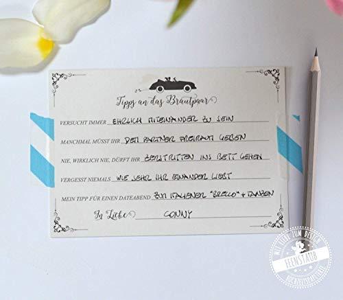 Gästebuch Hochzeit mit vorgedruckten Fragen Alternative - 30 Karten zum ausfüllen & einkleben