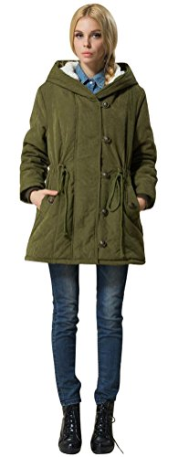 ACE SHOCK Winter Coats for Women Plus Size, Lamb Wool Lined Jackets Hooded Parka MD Long S-2X (S, Army Green)