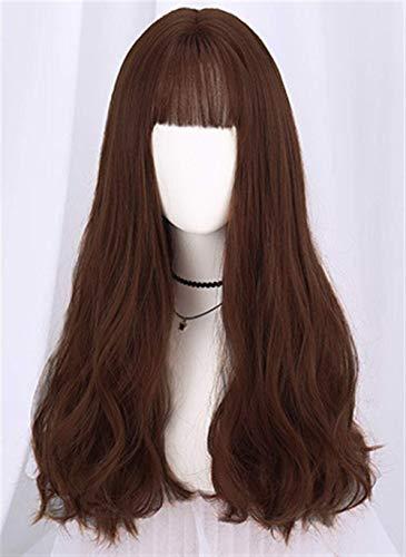 Perruque Femme Cheveux Longs Rouleau Moelleux Naturel air Bangs clavicule bouclés Grosse Vague Ronde Perruque Chocolat Femmes Perruques avec