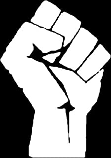 Fight the Power Fist Vinyl Decal Sticker   Cars Trucks Vans Walls Laptops Cups   White   5.5 inches   KCD1295